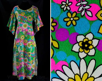 Size 10 Lounge Dress - 60s Psychedelic Daisies Print Cotton Barkcloth - Medium Size 1960s Long Hippie Daisy Dress - Bust 36 - 46839