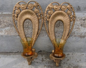 burwood gold plastic wall sconces amber optic glass votives 1975 bohemian hippie boho