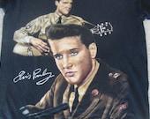 Vintage Elvis Presley 90's Military Years Rockabilly Guitar Portrait Black 1995 T Shirt XL