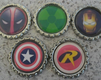 5 x Super Hero Inspired Flattened Silver Bottle Caps - Great for Jewellery, Cards, Keyrings