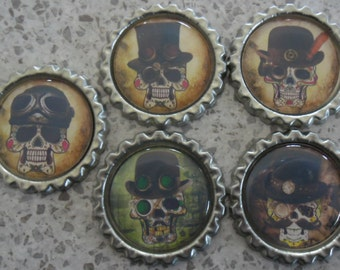 5 x Steampunk Sugar Skulls Inspired Flattened Silver Bottle Caps - Great for Jewellery, Cards, Keyrings