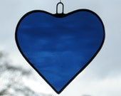 Stained Glass hanging ornament (Love Heart) in navy blue rippling water glass
