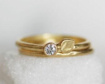 Diamond Petal Wedding Ring Set - 3mm Diamond Engagement Rings set of Two - Choose 14k or 18k Eco-Friendly Gold