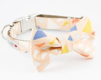 Pale Peach Triangle Bowtie Dog Collar
