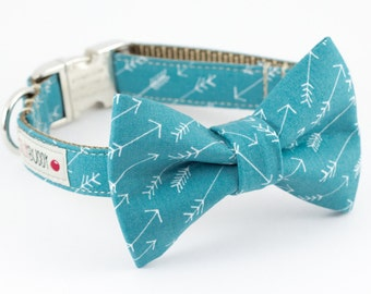 Arrows Dog Bowtie Collar in Ocean