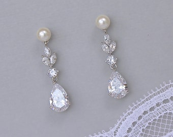 Pearl Bridal Earrings, Crystal Chandelier Bridal Earrings, Pearl Stud Earrings, Bridal Jewelry, Wedding Earrings, ASHLEY PP