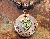 Tripawd Mom Copper and Brass Stamped Charm with Necklace