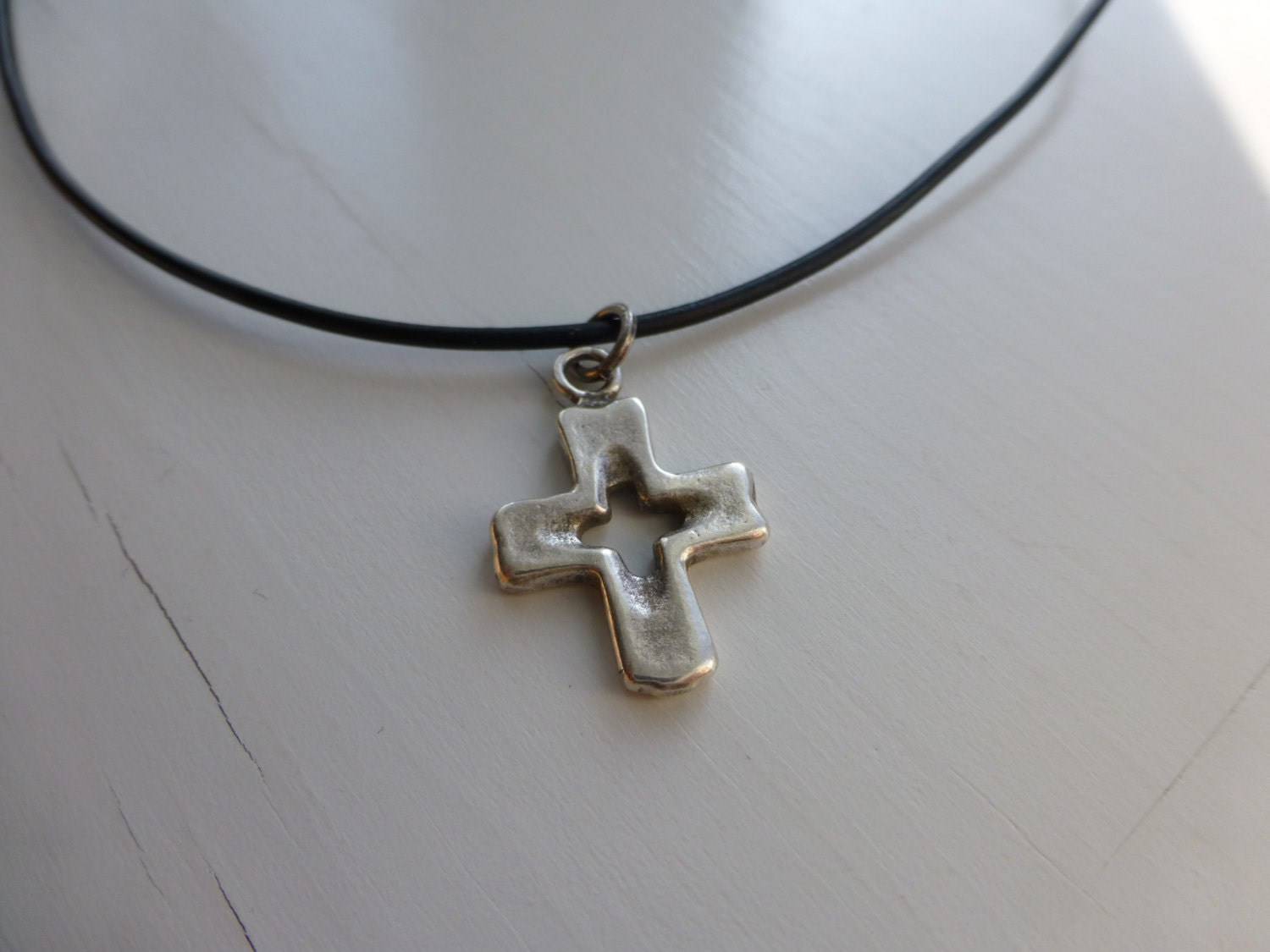 Cool Mens Black Leather Necklace With Silver Metal Cross