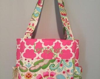 Kumari Garden floral fabric Diaper Bag with Free Monogram