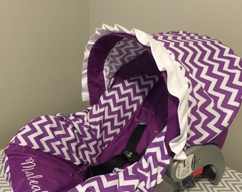 Purple & White chevron Infant Car Seat Cover and Canopy with Free Monogram