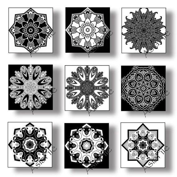 Printable Digital 1 Inch Squares Digital Art, Kaleidoscope Art , Embellishments, Inchies, Black White, Digital Collage Sheet CS 39