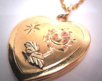 Antique Rose Gold Floral Locket Heart Pendant Green Yellow Gold Flower