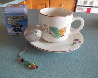 Decorated Tea Ball, tea infuser, beaded, tea strainer, colorful gift