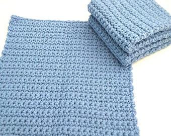 Crochet Wash Cloths, Crochet Dish Cloths, 100% Cotton, Handmade Washrag, Set of 3 Kitchen Dishcloths, Crocheted Dish Cloths, Potholder