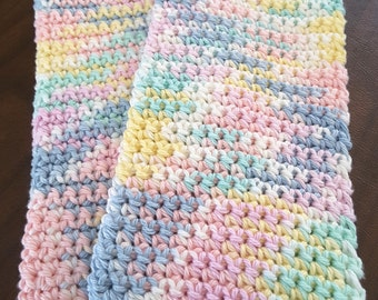 Crochet Wash Cloths, Crochet Pastel Dish Cloths, 100% Cotton Wash Cloths, Handmade Washrag, Set of 2 Kitchen Cloths, Facial Cloth