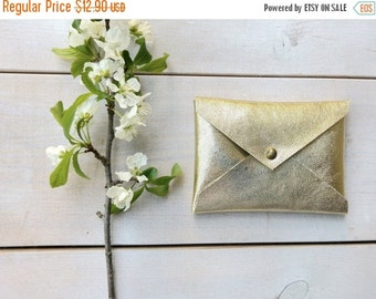 25% OFF, Gold Leather card holder ,credit card holder, Envelope wallet, slim card holder, Leather card case, ID Wallet