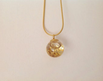 Golden Snow Globe Necklace - Golden Glitter Filled Orb Necklace