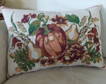 PUMPKINS and PEARS TAPESTRY Pillow!  Perfect for the Fall Season and Holidays!  13x18. Great in living room, bedroom, den, office, dorm!