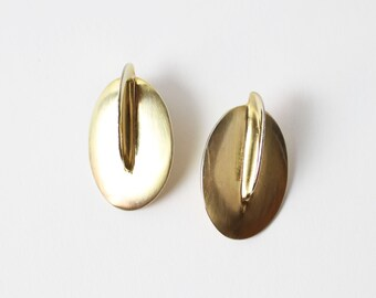 VINTAGE 1980s Deco Earrings Pale Gold Pierced