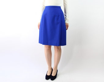 VINTAGE Cobalt Blue Skirt Wool Pencil Short