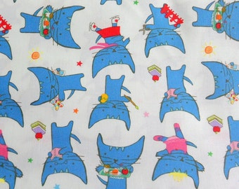 Kitty Fabric Blue and White Material Children's Fabric , Pixie Pops fabric , Cotton Material Timeless Treasures