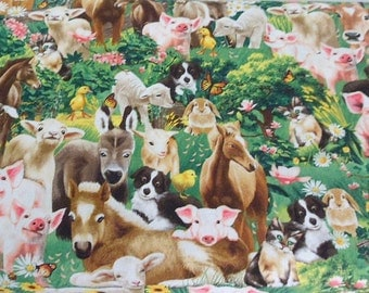 Horses Donkeys Pigs Dogs Fabric Pigs Timeless Treasures Cotton Fabric