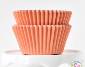 Solid Orange BakeBright GREASEPROOF Baking Cups Cupcake Liners | ~30 count