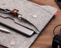 iPad Pro 9.7 inch Case cover Sleeve 100% Wool Felt, Italian Vegetable Tanned Leather