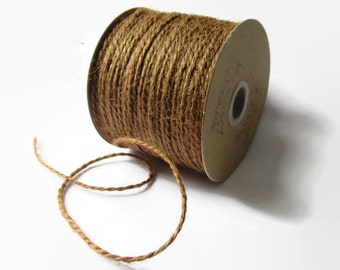 100 Yard Rustic Jute Twine / Rope / Cord - Sable Brown - Full Spool / Roll - Packaging Invitation Wrap - Natural Burlap Craft String 2mm