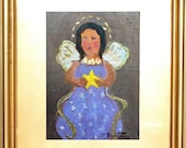 "Angel Painting, Guardian Angel,  Christmas Angel, Original Oil Painting,  Miniature Painting,  with 3"" gold Frame, Mini  Painting, Gift Item"