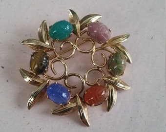 Vintage Scarab Brooch or Pin Accessory Costume Jewelry Gold Tone Metal Agate Natural Stones Tiger Eye