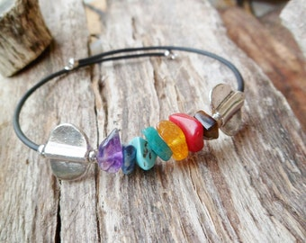 7 Chakra Bracelet. Tiger Eye, Coral, Amazonite, Amber, Turquoise, Lapis Lazuli And Amethyst. Bangle Bracelet. Chakra Stone Bracelet.
