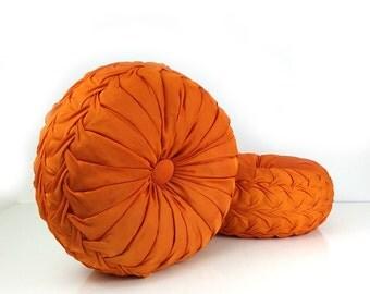 Vintage Smocked Pillows- Set of 2 / Orange Satin Throw Pillows