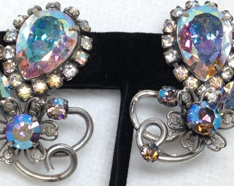 Clip Earrings - Vendome  - Aurora Borealis Stones