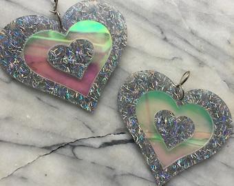 Heartbreaker earrings holographic silver glitter/holographic earrings