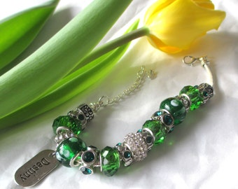 SALE Green Chunky Glass Sparkling CZ Destiny Bracelet -  by B A R B A R A    W H I T E