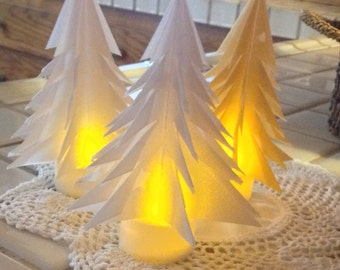 7 Origami Luminary Trees with Candles