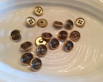 All the same button - 17 vintage gold metal shank buttons