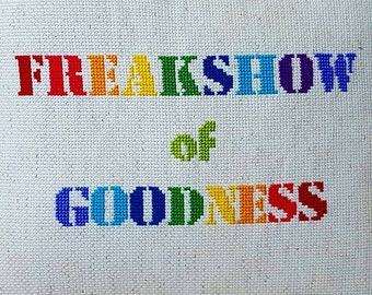 THROW PILLOW Freakshow Of Goodness Custom Needlepoint One of a kind handmade cross stitch
