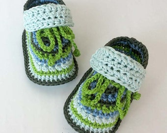 Crochet pattern baby booties. Super cute baby sneakers! For boys and girls! Permission to sell finished items! Pattern No. 109