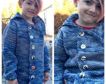 Hand Knit Children's Sweater, Heirloom Sweater, Andalusia Sweater, Baby Sweater, Toddler Sweater, Sweater Coat, Fall Jacket