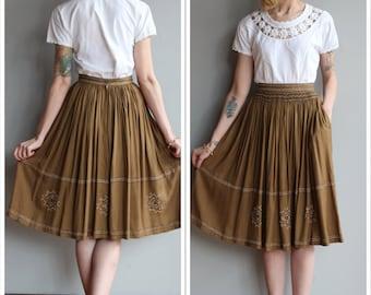 1980s Skirt // Sandy Starkman Rayon Indian Skirt // vintage 80s skirt