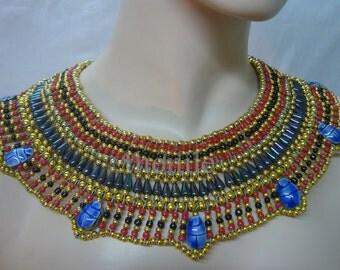 Egyptian  Queen Cleopatra Necklace Collar 7 Scarab Mega Sale