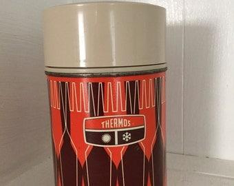 Vintage Thermos in kitsch orange pattern