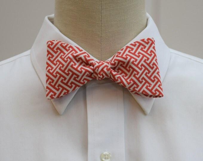 Men's bow tie, red/ivory Greek key design, geometric print bow tie, wedding party wear, groom/groomsmen bow tie, red/ivory bow tie, prom tie