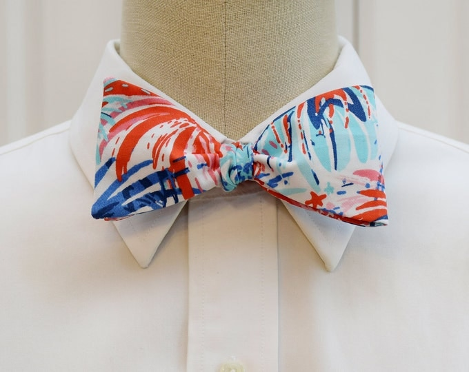 Men's Bow Tie, fireworks bow tie, red,pinks and blues bow tie, July 4th bow tie, Independence Day bow tie, wedding bow tie, groomsmen gift,