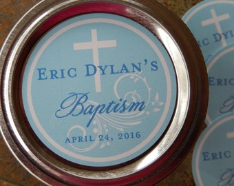 "Custom Baptism and Christening Favor Stickers - 50 2"" Mason Jar Custom Stickers - Baptism Labels - Personalized Tags and Stickers"