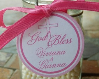 "God Bless Twins - Baptism, First Communion Custom Favor Tags  - For Cake Pops - Lollipops - Cookies - Party Favors - (60) 1.5"" Printed Tags"