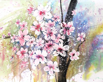 Spring 2016 Cherry Blossoms , limited edition of 50 fine art giclee prints from my original watercolor