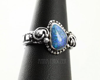 ENGAGEMENT RING, natural opal, blue opal, flash, wire-wrapping  - oxidized, sterling silver, fine silver, wrapped ring, wire wrap, opal